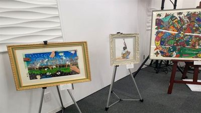 Iran's Bahrami stands at the Paralym Art World Cup