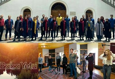"""Performance of """"Baba Yetu"""" with the two choirs from Iran and Croatia"""