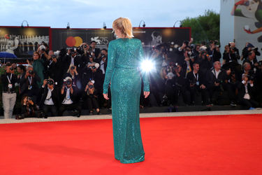 091 Emmanuelle Seigner walks the red carpet ahead of the _At Eternity_s Gate_ screening during the 75th Venice Film Festival