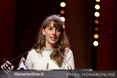 Reka Bucsi receives the Short film Award in Bronze for the movie _Solar Walk_ on stage at the closing ceremony during the 68th Berlinale International Film Festival