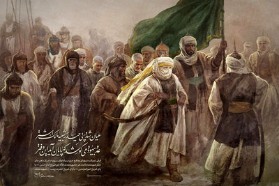 Ruholamin's new painting depicting Soleimani, Al-Muhandis among companions of Imam Ali (AS)
